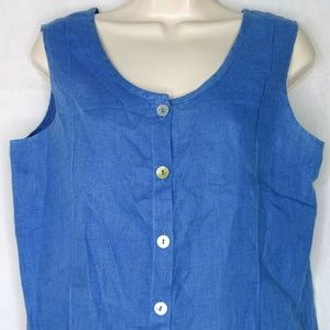 Flax Button Front Linen Top Shirt Sleeveless